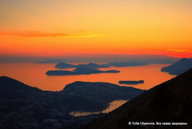 Закат в Дубровнике. Вид с горы Срдж