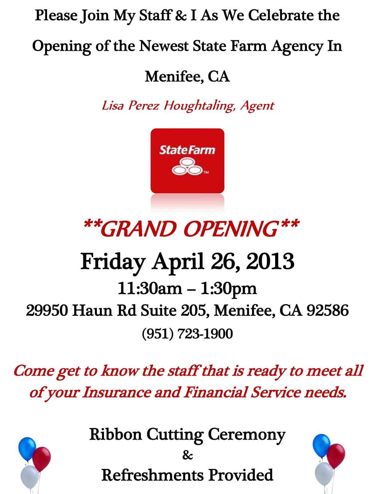 Menifees newest state farm agency grand opening april 26 menifees newest state farm agency grand opening april 26 menifee 247 stopboris Images