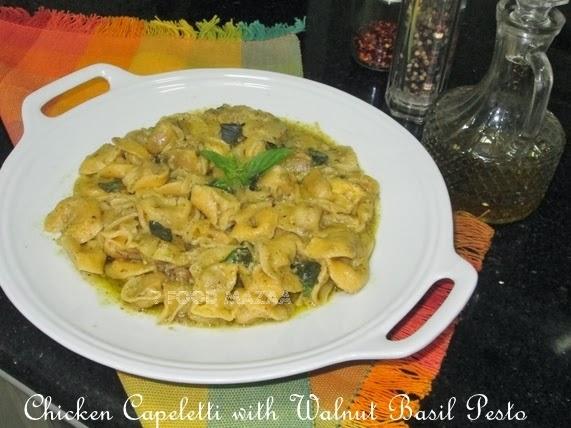 chicken capeletti with walnut basil pesto sauce