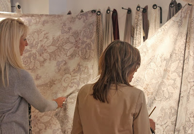 ladies handling rococo linen