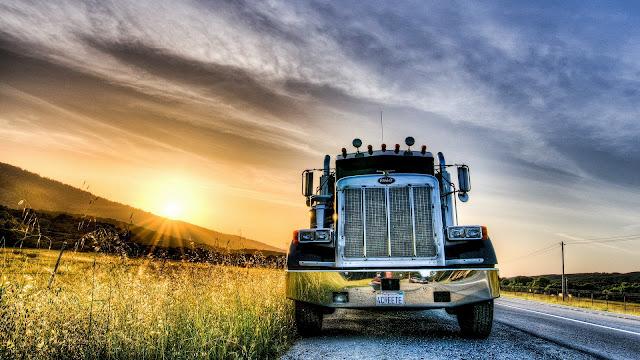 Sunset Road Truck HD Wallpaper