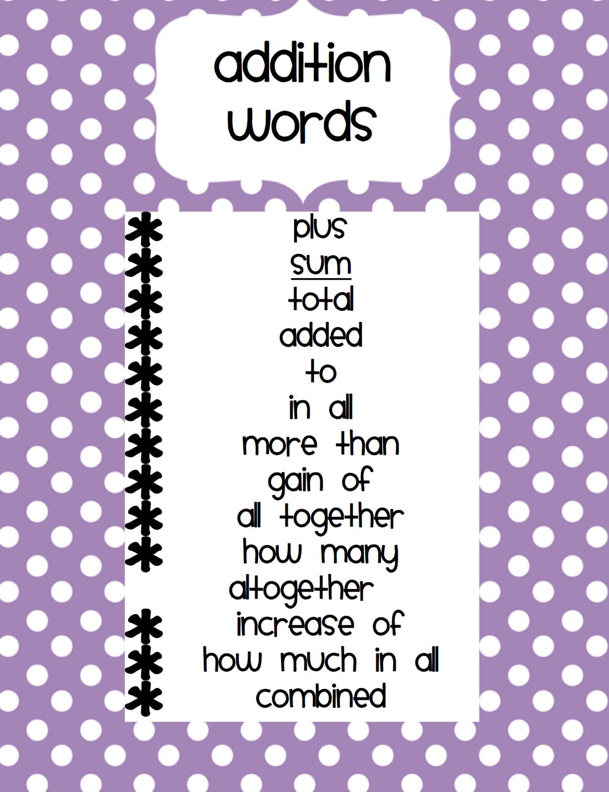 worksheet. Addition Words. Duliziyou Worksheets for Elementary ...
