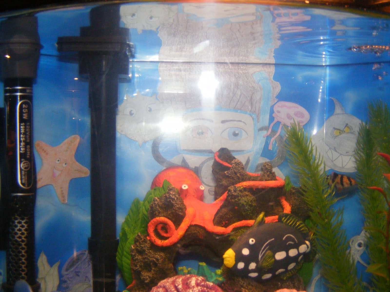 Think tank mom make your own custom fish tank backdrop for Create your own fish