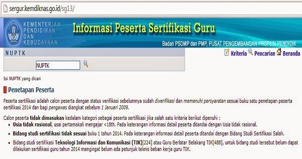 INFORMASI PESERTA SERTIFIKASI GURU TAHUN 2014
