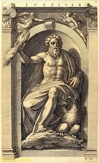 medieval engraving of Roman god Jupiter
