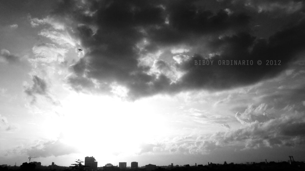 Afternoon sky in black and white