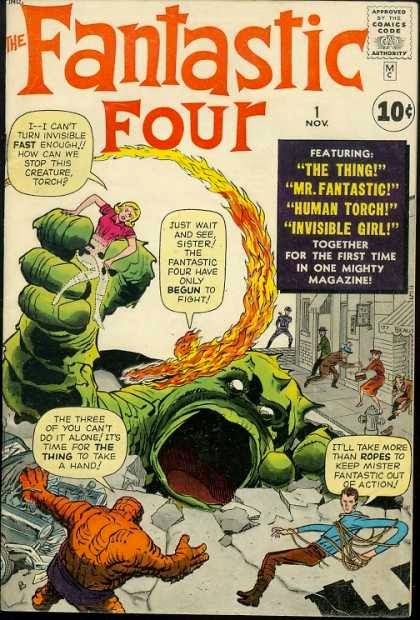 Marvel Super heroes Stan Lee Jack Kirby Fantastic Four woman monster