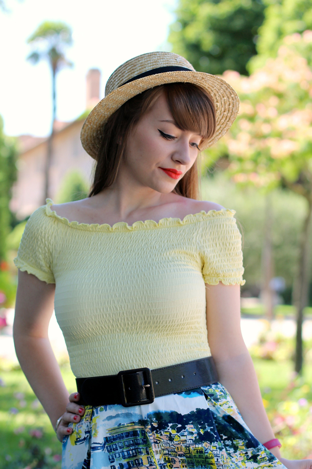 Boater hat, bardot top, full skirt