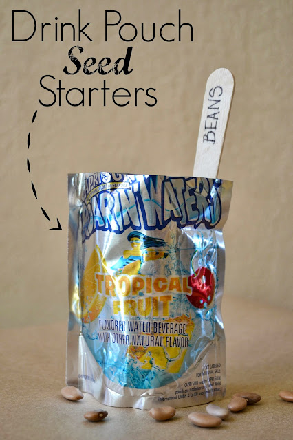 Mommy Testers, DIY seed starters, Drink pouch seed starters, Recycle drink pouches, upcycle drink pouches, drink pouch crafts,