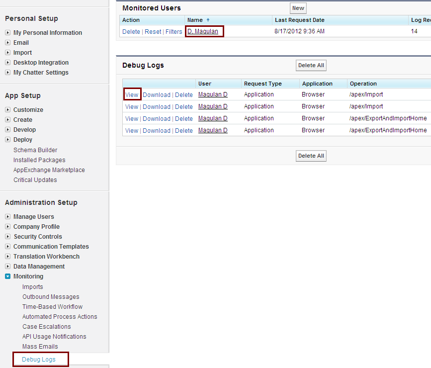 Visualforce Page Flow: Infallible Techie: Example For System.debug() In Salesforce