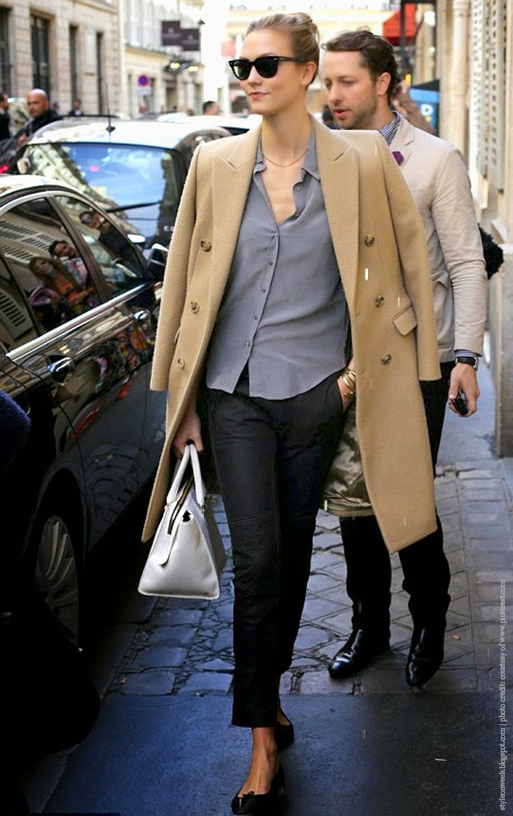Karlie Kloss Street Style Snapshot - Looking Timeless and Elegant in Grey Silk Shirt