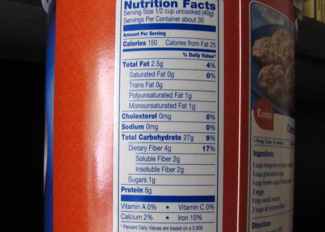 Kroger Old Fashioned Oatmeal Nutrition Facts