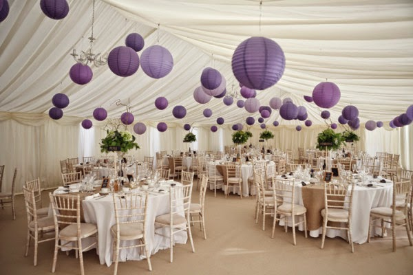 ... purple wedding decoration, purple wedding table reception in white