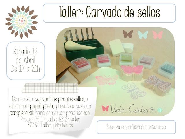 Carvado de sellos, taller, gubia, Violín Cantarín