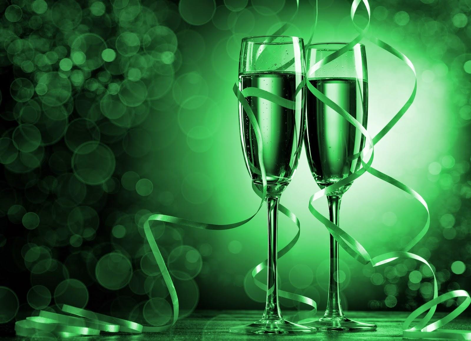 Gelukkig Nieuw jaar wallpaper met champagne