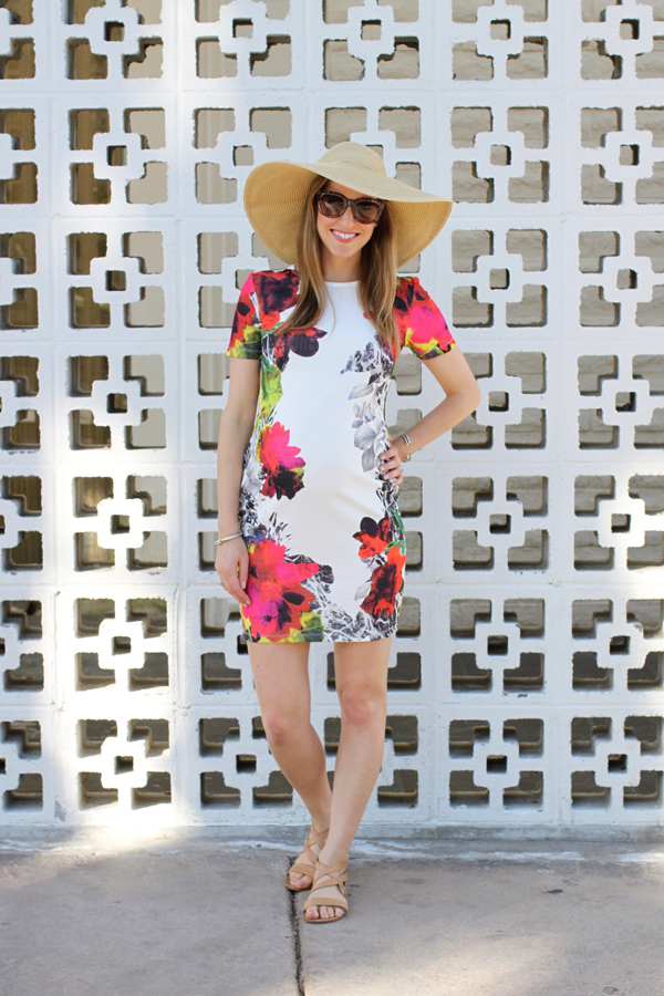 Asos floral maternity dress—perfect for a warm-weather babymoon