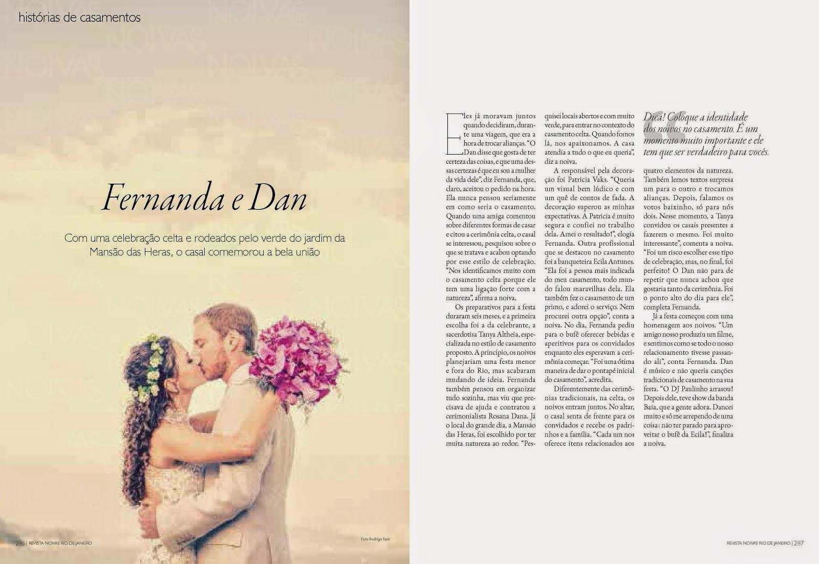Reportagem Rio de Janeiro Noivas Fernanda e Dan