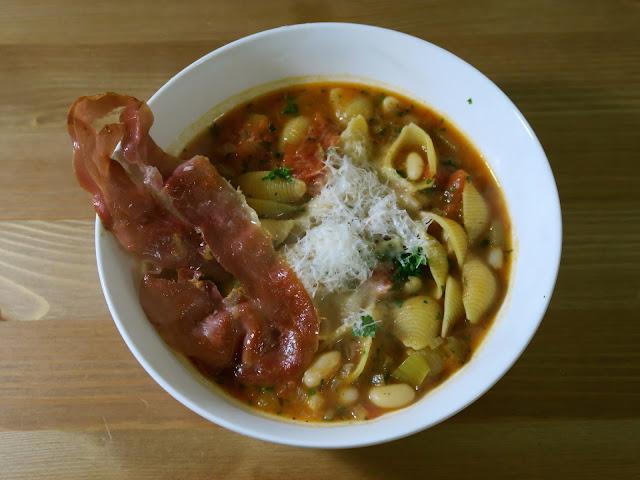 Pasta e Fagioli with Crispy Prosciutto from Date Night In | Dani Elis | salt sugar and i