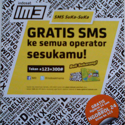 IM3 suka-suka GRATIS SMS ke semua operator sesukamu