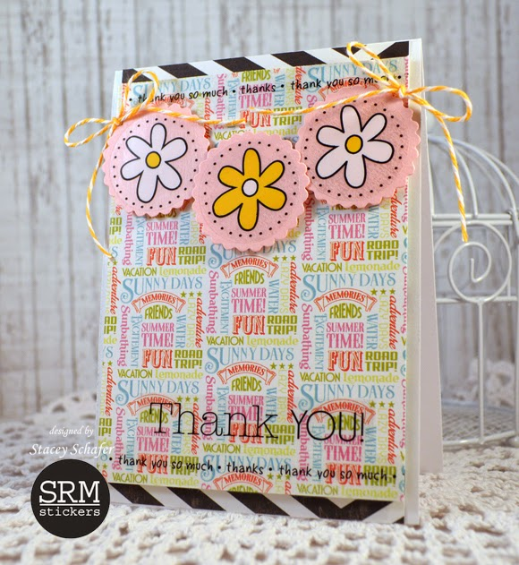 SRM Stickers Blog - Pair of Punched Pieces Cards by Stacey - #thanks #card #punched pieces #stickers #twine #banner