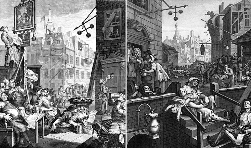 A travessa do gin, obra de William Hogarth