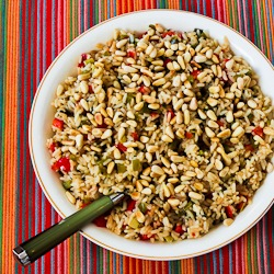 red and green christmas rice with bell peppers parmesan and pine nuts makes 6 8 servings recipe adapted from red and green rice in american profile - Christmas Rice