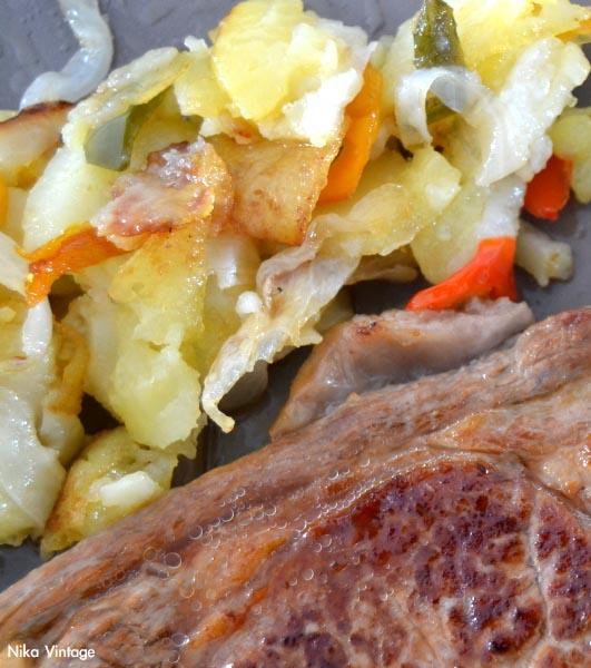 cordero y patatas panaderas, cena