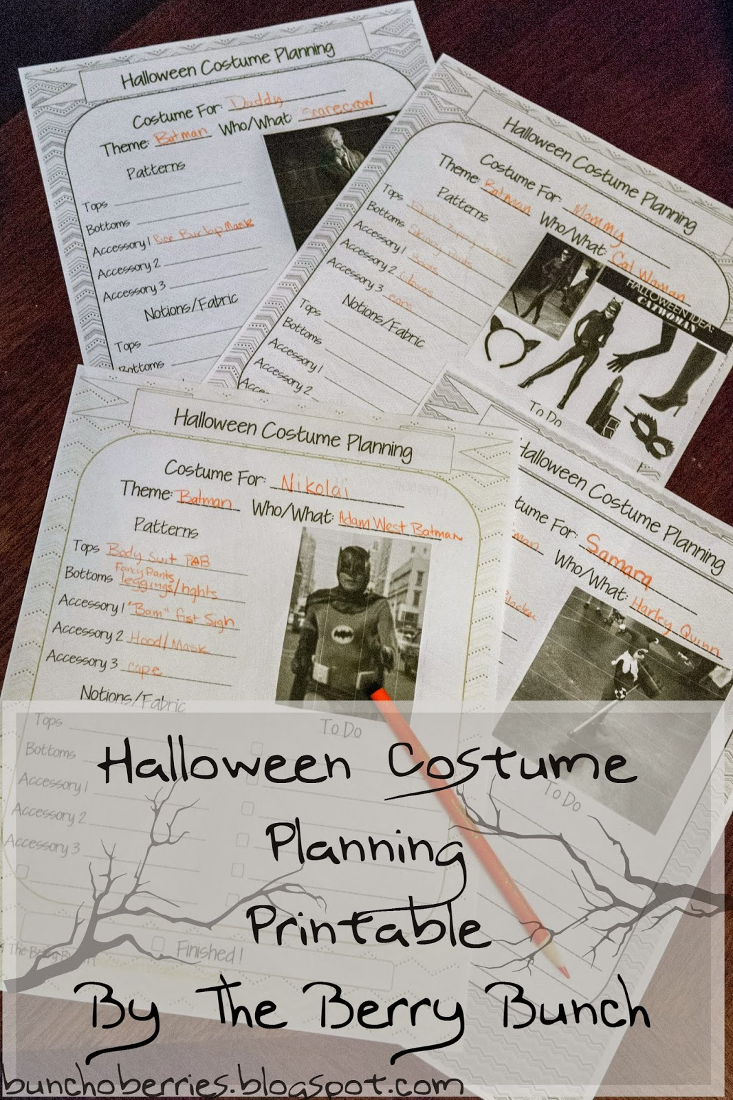 The Berry Bunch: Halloween Costumes: Planning the Outfits {Free Printable}