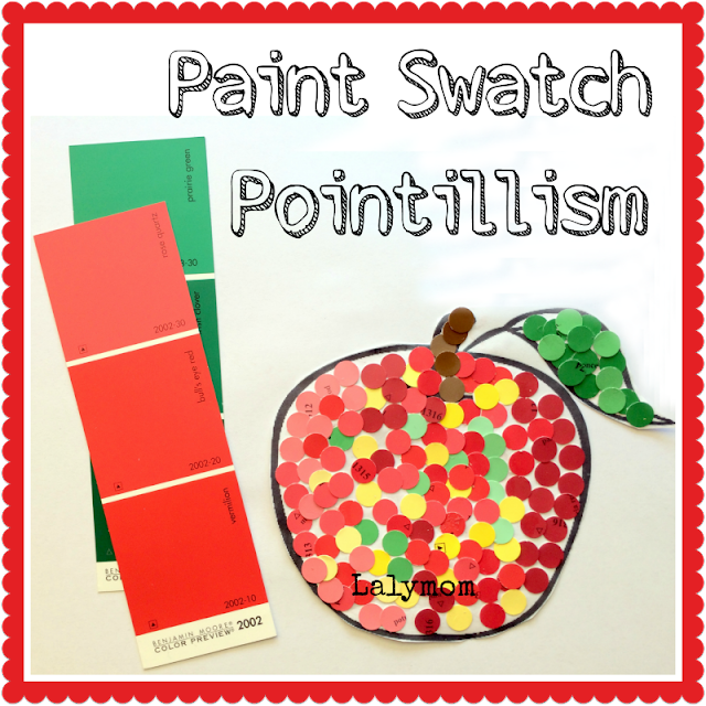 Pointillism for Kids Art Project Using Paint Swatches from Lalymom