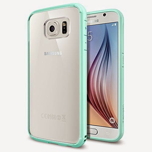 Galaxy S6 Case, Spigen® [AIR CUSHION] Galaxy S6 Case Bumper **NEW** [Ultra Hybrid] [Mint] - [1 Back Protector Included] Scratch Resistant Bumper Case with Clear Back Panel for Galaxy S6 (2015) - Mint (SGP11314)