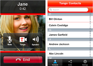 tango video chat screen shot, screenshot, cell phone, address book, call