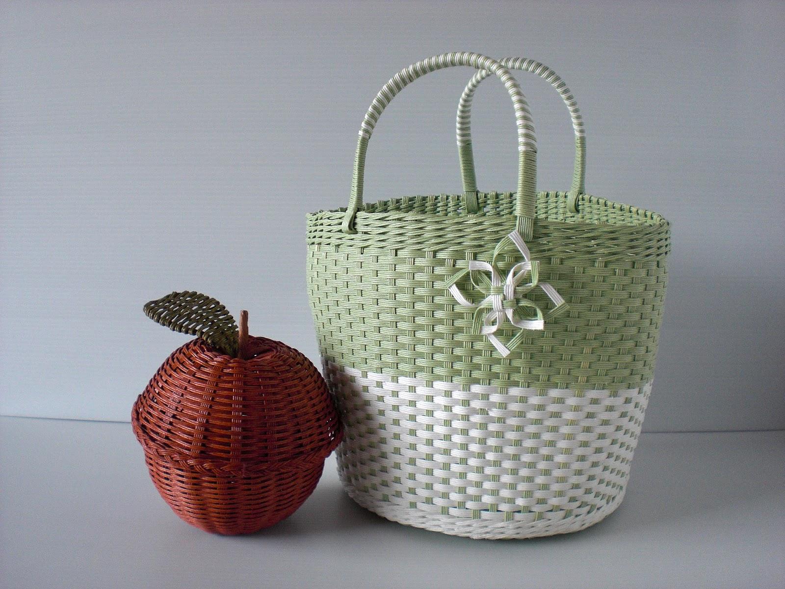 古木明美 編んだり、組んだりエコクラフトのバッグとかご P16 ツートンバッグ