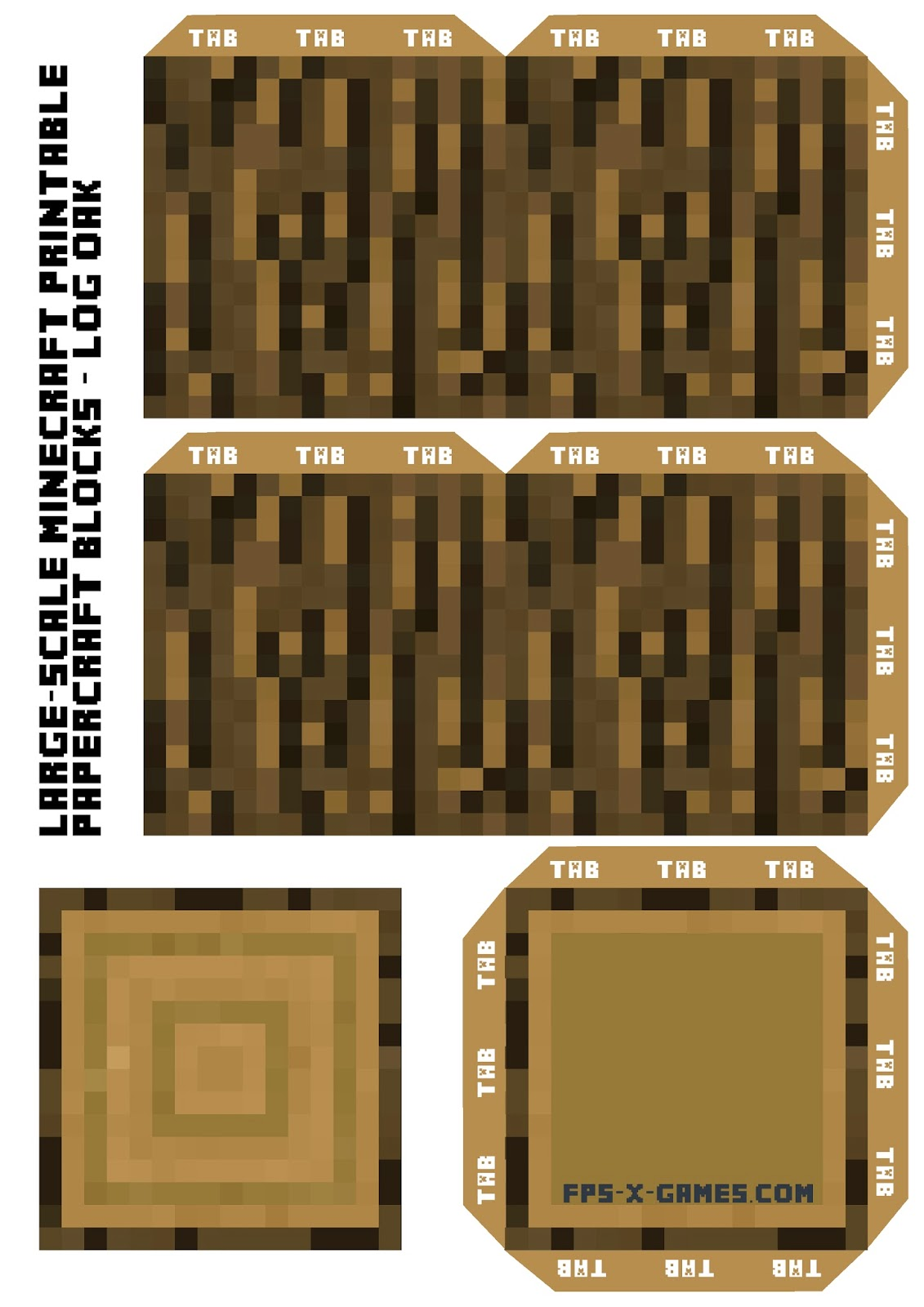 Large scale minecraft printable log oak for Minecraft tnt block template