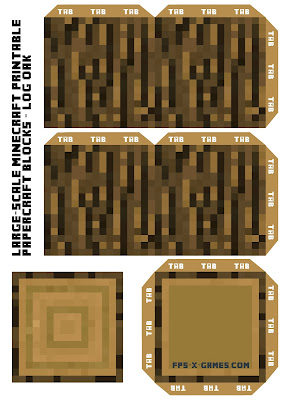 Large Scale Minecraft printable log oak