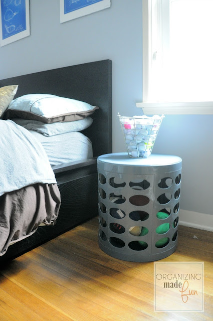 Gray Otto Storage Stool in boys' room:: OrganizingMadeFun.com