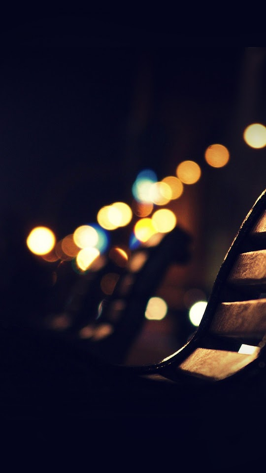 Bokeh Wood Bench Lights  Galaxy Note HD Wallpaper