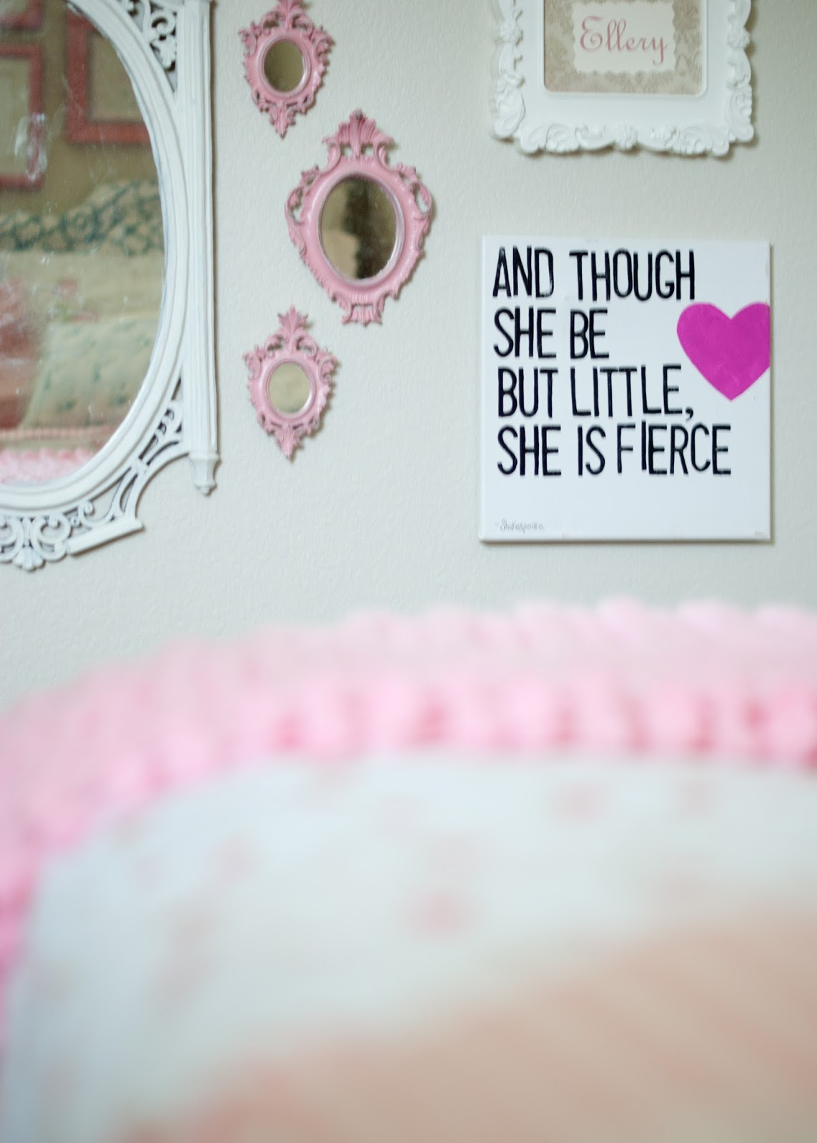 "Gallery wall- vintage mirrors and quote ""though she be but little she is fierce"