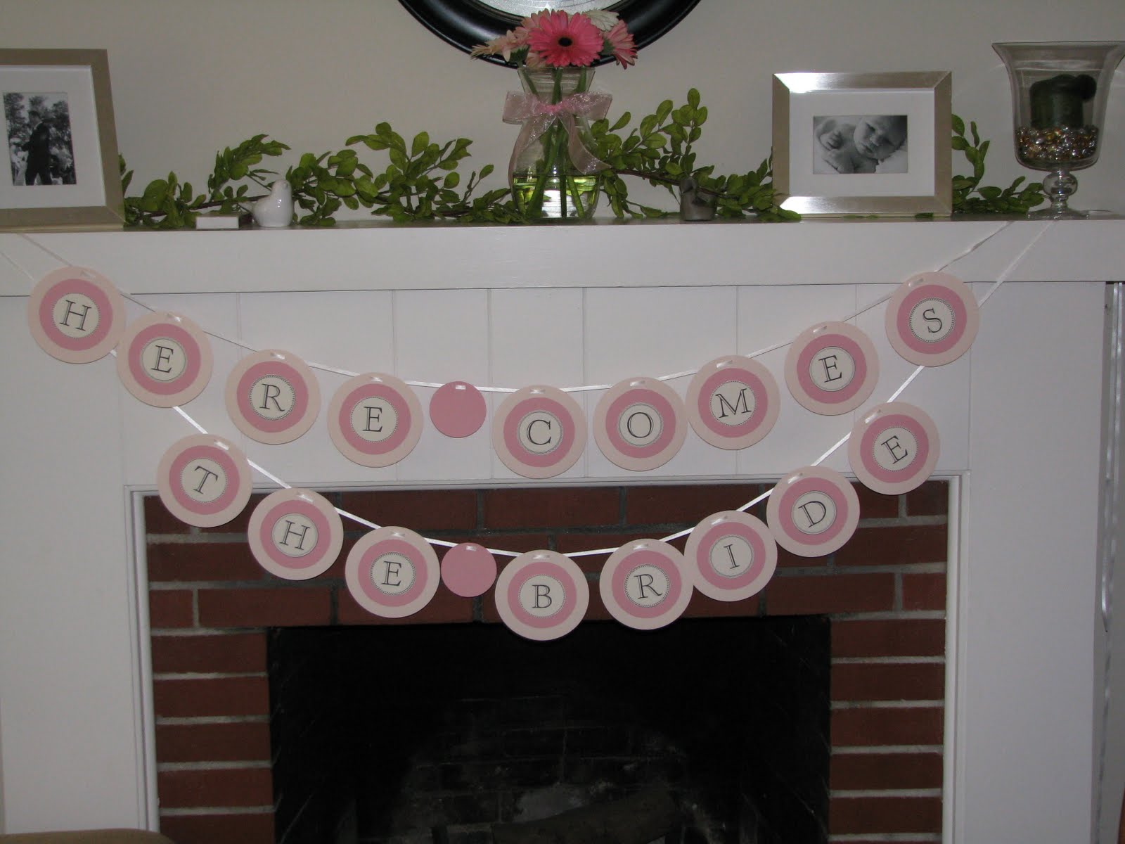 pink themed bridal shower here comes the bride banner
