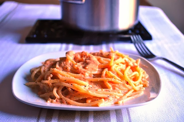... from a Vermont foodie: Roasted Red Pepper & Goat Cheese Alfredo