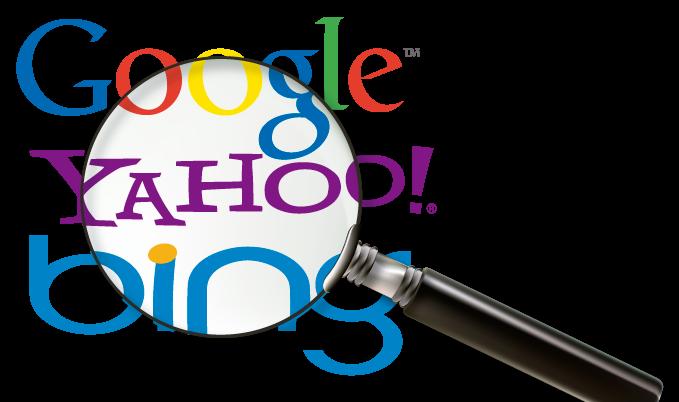 google yahoo y bing con una lupa