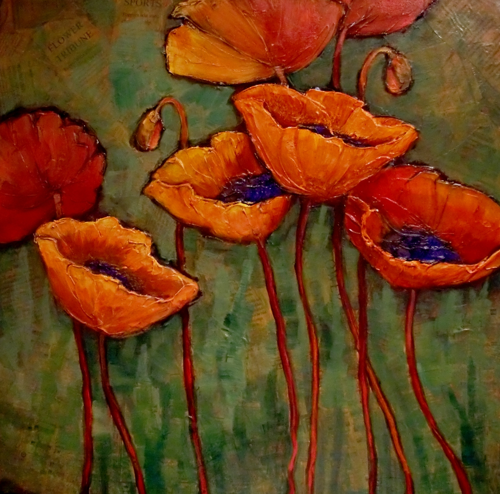 TRIBUNE quot  textured poppy flower painting   169  Carol Nelson Fine ArtPoppy Flowers Painting