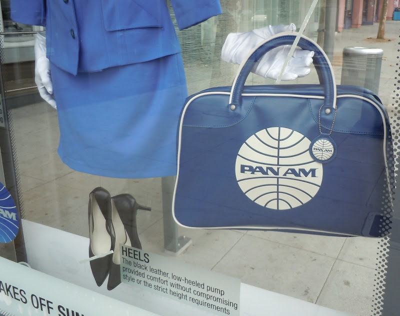 Pan Am flight bag bus shelter