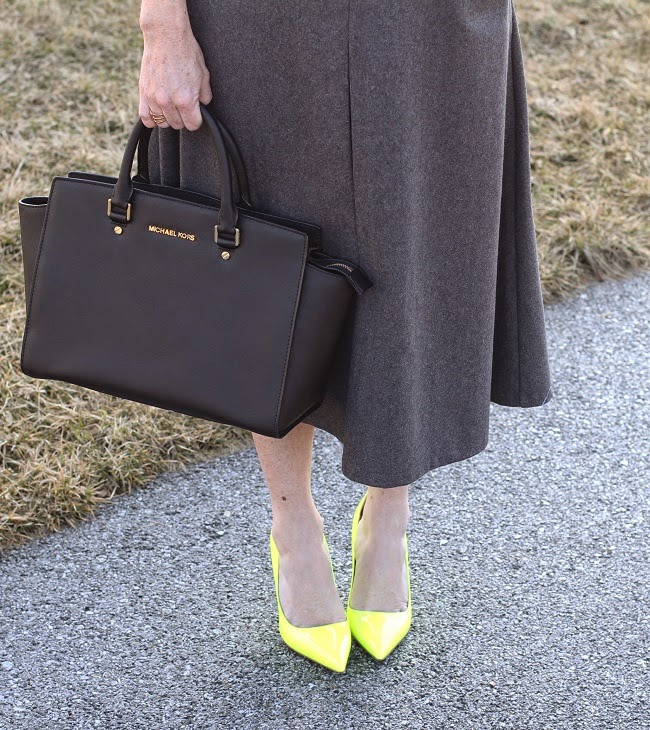 michael kors handbag, chicwish skirt, kate spade heels