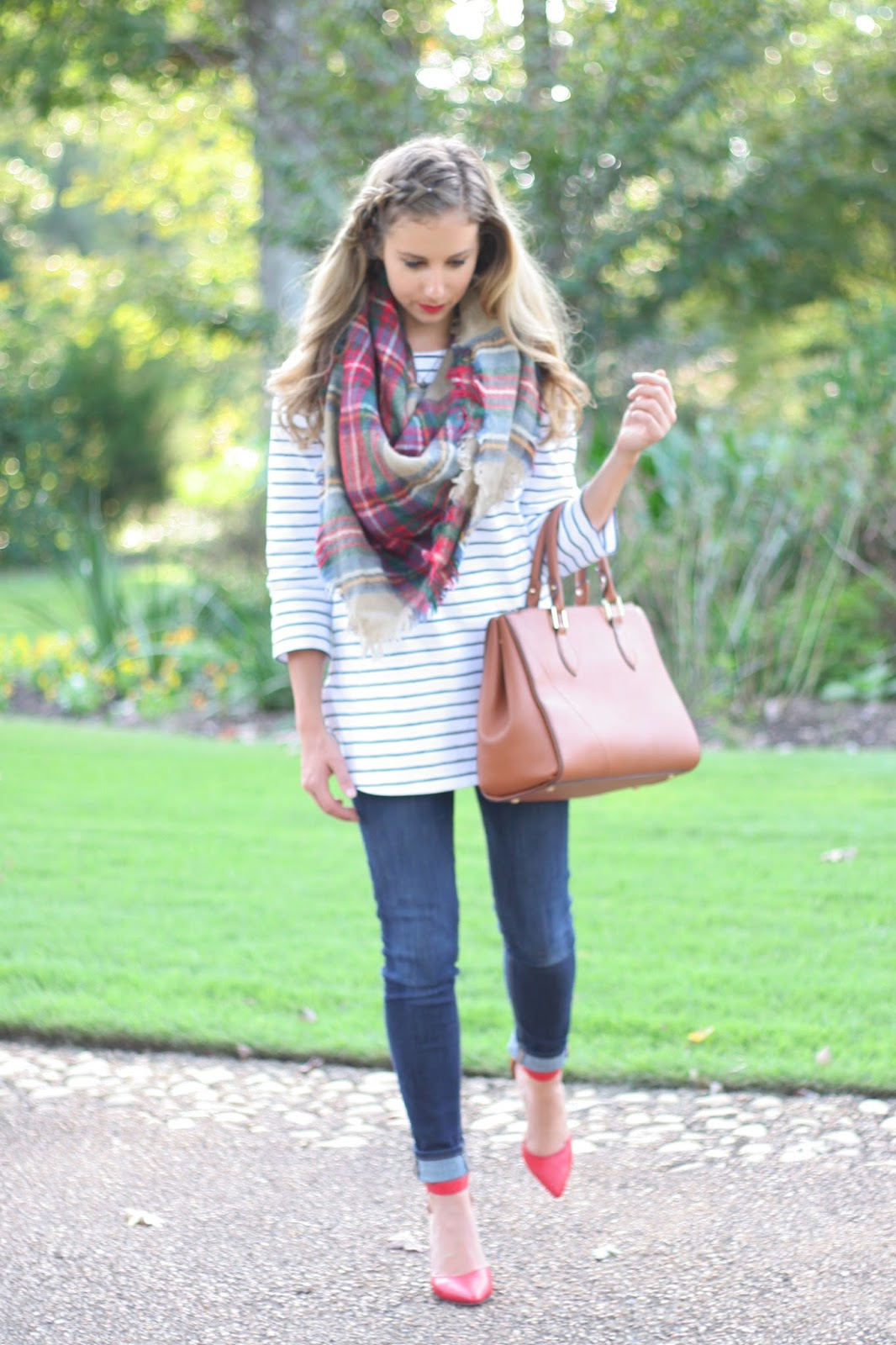 Layering-patters-for-fall - Combining-stripes-with-plaid!
