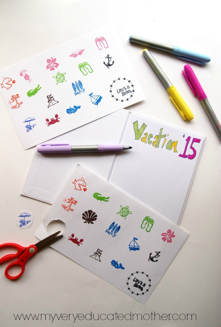 Make your own stickers for a vacation journal using PSA Essentials Peel & Stick Stamps.