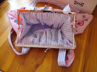 bolso de tela rosa rayas