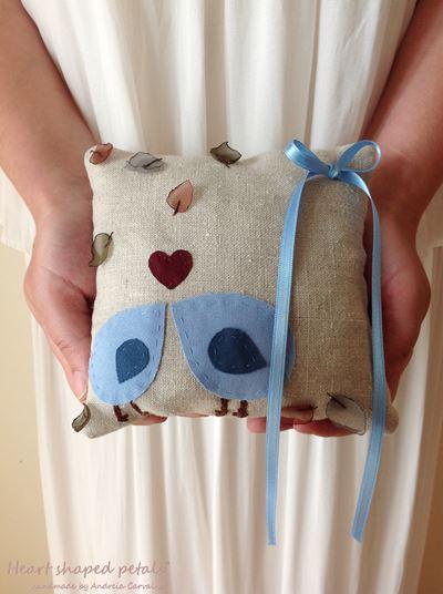 linen ring bearer pillow with birds