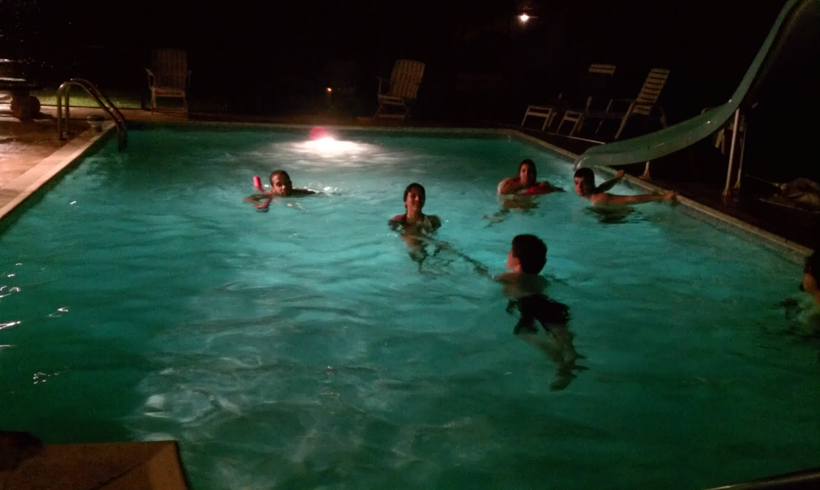 Backyard Pool At Night : Last Saturday night was the cousins gettogether I was hosting at my