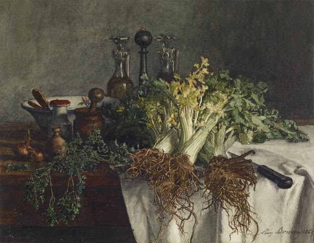 Léon Bonvin  French, 1865  Still Life on Kitchen Table with Celery, Parsley, Bowl and Cruets via Walters as seen on linen & lavender (l&l)