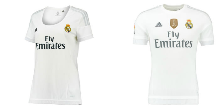 Camisetas femenina y masculina del Real Madrid